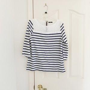 H&M Navy & White Stripe 3/4 Sleeve Shirt